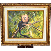 SALE Original Golden Lion Tamarin Monkey Framed Oil Painting