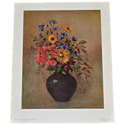 SOLD Odilon Redon ~ Vintage 'Wildflowers' Art Print