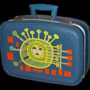 SALE 1960s Funky Pop Art Small Blue Suitcase