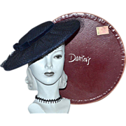 1950s Christine Original ~ Navy Blue Netted Pancake Hat w/ Original Davison's Box