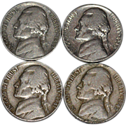 SALE 1939-1942 Set of 4 Thomas Jefferson U.S. American Nickels