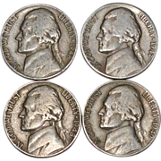 SALE 1946-1949 Set of 4 Thomas Jefferson US. American Nickels