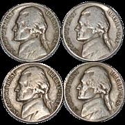 SALE 1946-1949 Set of 4 Thomas Jefferson US. American Nickels