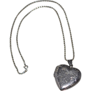 SALE Large Sterling Etched Heart Double-Sided Locket Pendant with Chain