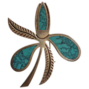 SALE Miguel Garcia Martinez ~ Sterling & Spiderweb Turquoise Stylized Flower Pin/Brooch