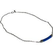 SALE 1970s Sarah Coventry ~ Faux Lapis Lazuli Silvertone Necklace