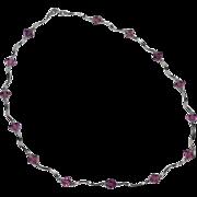 SALE 14K White Gold & Diamond-Shaped Amethyst Necklace