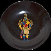 SALE Couroc Hummingbird Kachina Inlaid Wood & Metal Collectible Bowl