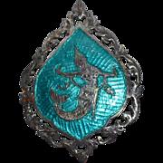 SALE Siam Sterling Mermaid Blue Enamel Niello Brooch/Pin