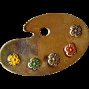 SALE Lang Sterling & Enamel Art Palette Brooch/Pin