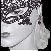 SALE Sterling Marcasite & Black Onyx Dangle Earrings