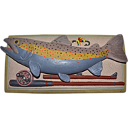 SALE 1992 Carruth ~ Heavy 3D Rainbow Trout Fish Wall Plaque