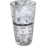 SALE Libbey Tumbler Glass w/ Cocktail Recipes & Measurements