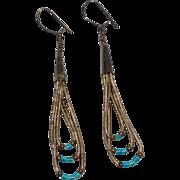 SALE Sterling Liquid Silver & Turquoise Dangle Earrings