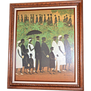 SOLD Large 'Funeral Procession' by Ellis Wilson Framed Giclee Art Reproduction