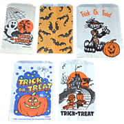 SALE Set of 5 Halloween Candy Trick or Treat Paper Bags