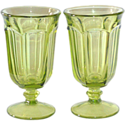 SALE Libbey Duratuff Gibraltar ~ Set of 2 LIME Green Water or Iced Tea Goblet Glasses
