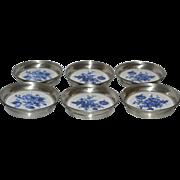 SOLD Set of 6 Pewter & Ceramic Blue Flower Coasters