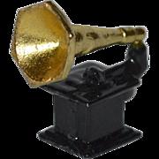 SALE Gramophone or Phonograph Enamel Cast Metal Doll Miniature