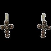 SALE Sterling Cannetille Filigree Cross Petite Stud Post Earrings