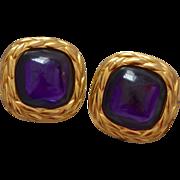 SALE Large Trifari Faux Amethyst Glass Designer Clip Earrings