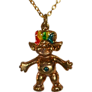 Enamel Rainbow Hair Troll Charm/Pendant Necklace
