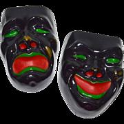 SALE Black Comedy & Tragedy Drama Mask Ceramic Wall Pockets