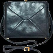 SALE Giorgio Beverly Hills Black Pebble Leather Crossover Shoulder Bag/Purse