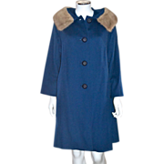 SALE 1950s Jacards Kilgarnock by Belson Sapphire Blue Wool Coat w/ Fur Collar