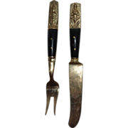 SALE Napa Jewelry Solid Bronze Thai Art Appetizer Fork & Knife