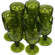 SALE Set of 8 Indiana Glass Thumbprint Green Glass Wine Goblet Stemware