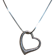 SALE Large Textured 5G Solid Sterling Silver Open Heart Pendant