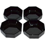 SALE Set of 4 Arcoroc Octime Black Glass Octagonal Bowls