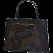 SALE 1960s Crown Lewis Black Patent Leather or Black Vinyl Handbag Purse
