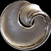 SALE Crown Trifari Signed Silvertone Swirl Brooch