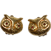SALE 1970s Liz Claiborne Rhinestone Eye Owl Clip Earrings