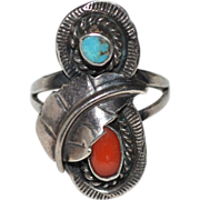 SALE Navajo Coral & Turquoise Sterling Silver Feather Ring ~ Size 6.5