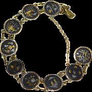 SALE Japanese Damascene 24K Gold & Silver Inlay Oxidized Black Round Link Bracelet