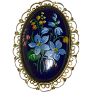SALE Large Handpainted Forget-Me-Not Flower Black Porcelain Filigree Mourning Brooch/Pin
