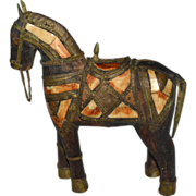 SALE Antique Bone & Brass Carved Wood War Horse Folk Art Sculpture