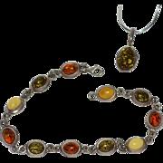 SALE Cognac, Green & Butterscotch Yellow Amber Sterling Silver Bracelet & Signed Pendant Set