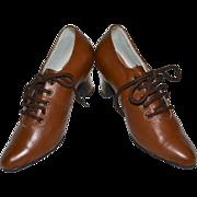 SALE 1930s Deco Era Copper Brown Leather Walking Shoes