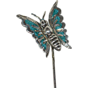 SALE Signed Sterling & Crushed Blue Turquoise Butterfly Stick Pin