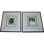 SALE Carolyn Oltman Artichoke & Leeks Signed/Numbered Framed Silkscreen Art Prints