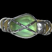 SALE Brutalist Style MAYA Designer Faux Green Stone Translucent Resin Bangle Bracelet STATEMEN