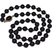 SALE PENDING Polished Black Glass Faux Tahitian Pearl Bead Necklace