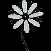 SALE Large Black & White Stemmed Daisy Flower Pin/Brooch