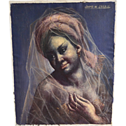 SALE 20th C Listed Artist Jaime de Jaraiz Gypsy 'Gitana' Woman Wearing Translucent Veil Scarf