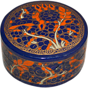 SALE Small Oriental Orange & Blue Flower Hand-Painted Round Lacquer Wood Trinket Box