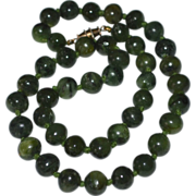 SALE Faux Green Jade Stone Bead Double Knotted Necklace